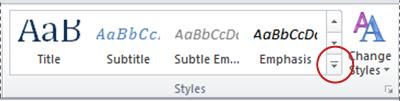 Word 2010 more styles button