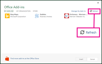 Office Add-ins Refresh button