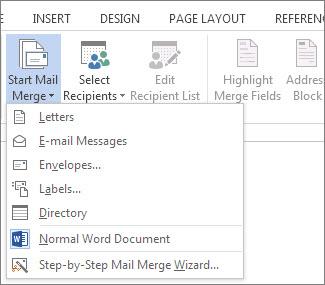 Start Mail Merge command