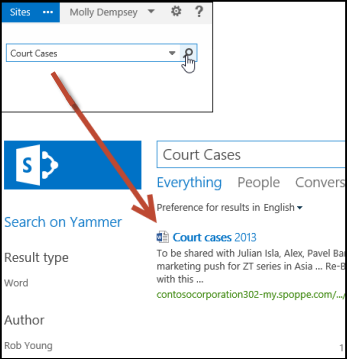 Search keywords to look for documents people have shared with you