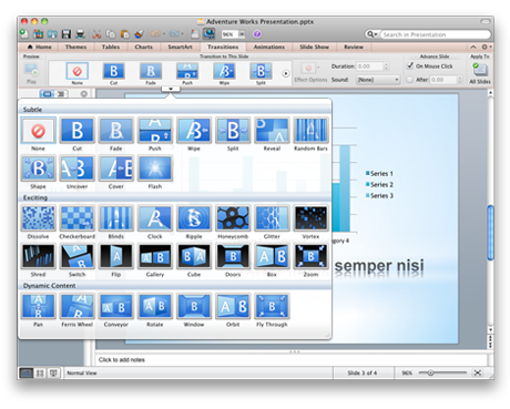 PowerPoint with Transitions tab showing