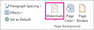The Watermark command in Word 2013. On the Design tab, click Watermark.