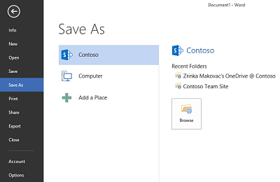 Save screen showing OneDrive for Business and SharePoint site added as a Place