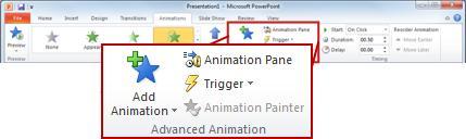 El grupo Animación avanzada en la ficha Animaciones.