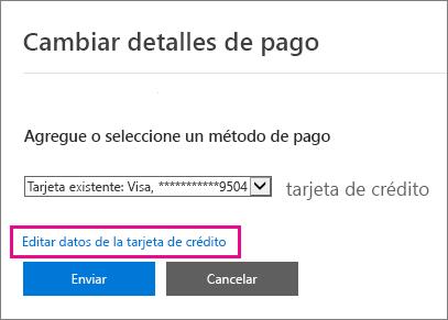 Página de los detalles del pago con Editar detalles de la tarjeta de crédito resaltado.
