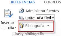 Cree una bibliografía en Word 2013.