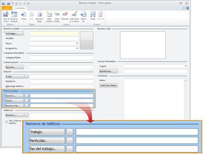 La pantalla Diseño del formulario de contacto empresarial con la sección de números de teléfono seleccionada.