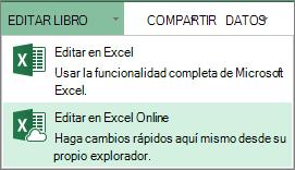 Editar en Excel Online en el menú Editar libro