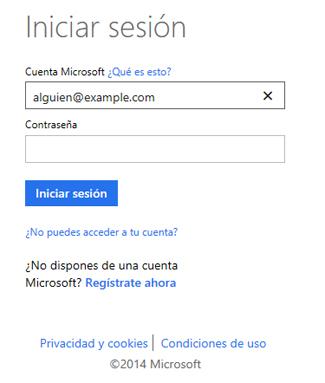 Cuadro de diálogo Inicio de sesión en OneDrive