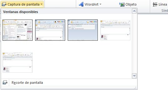 Comando Insertar captura de pantalla
