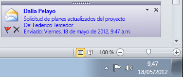 Alerta de escritorio de Outlook