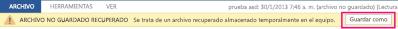 Guardar un archivo recuperado en Word 2013