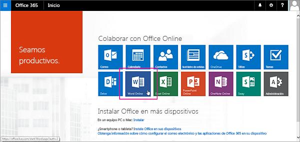 Haga clic en una aplicación de Office Online