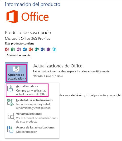 Buscando actualizaciones para Office de forma manual en Word 2013
