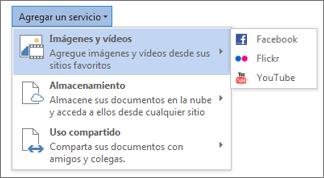 Agregar servicios como Flickr o Facebook para Office