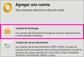 Herramientas > Cuentas > Cuenta de Exchange