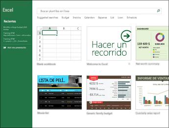 Algunas de las plantillas que están disponibles en Excel