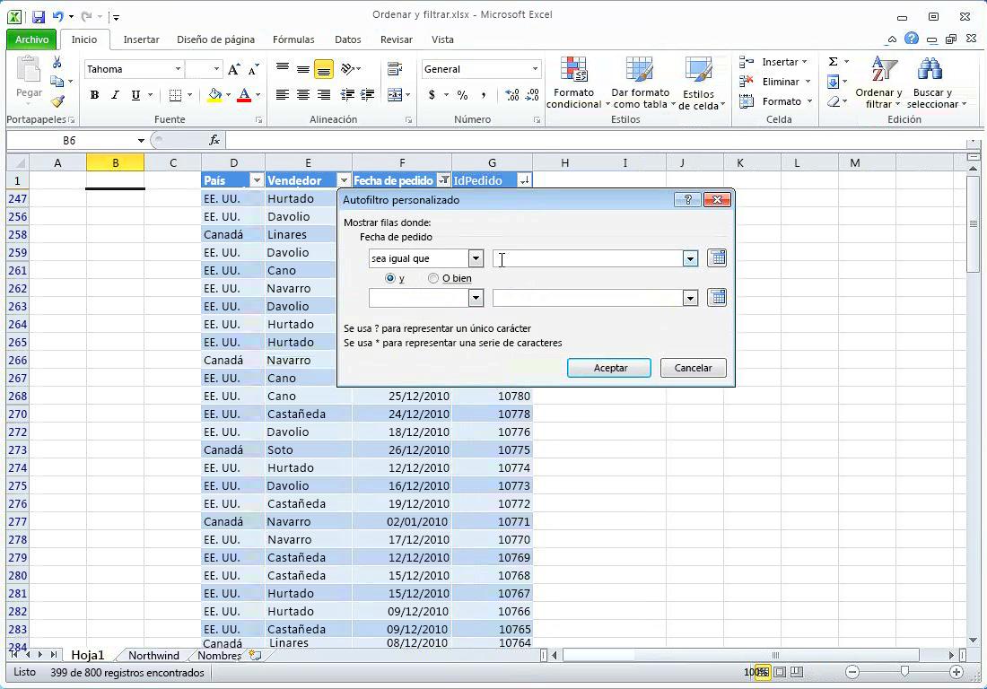 Ordenar, filtrar y eliminar duplicados