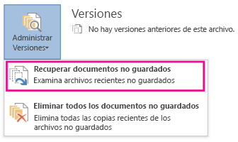 Recuperar documentos no guardados en Word