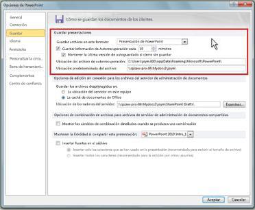 Establecer la configuración de autorrecuperación o autoguardado