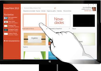 PowerPoint en dispositivos táctiles