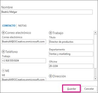 Agregar un nuevo contacto a Outlook desde un mensaje