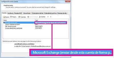 Cuenta de Microsoft Exchange como aparece en el cuadro de diálogo Configuración de la cuenta