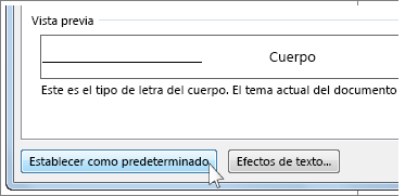 Botón de establecer como predeterminado en el cuadro de diálogo de tipo de letra