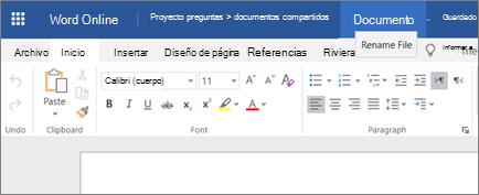 Haga clic en la barra de título para cambiar el nombre de un documento de Word Online