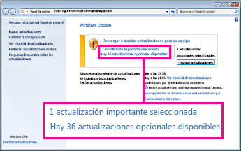 Vínculos del panel de Windows Update