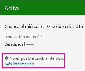 No hay ningún mensaje relacionado con el cambio de plan.