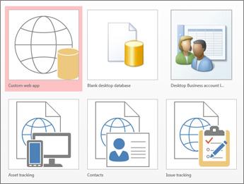 Vista de plantillas en la pantalla de inicio en Access