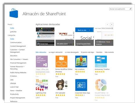 Captura de pantalla de la Tienda SharePoint