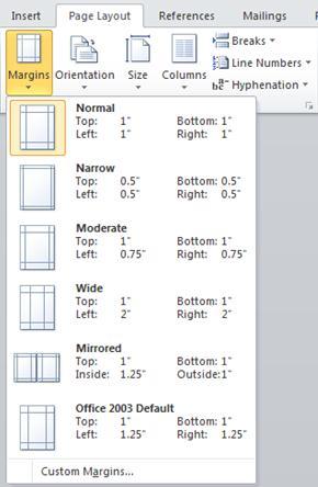 La galería de márgenes del grupo Configurar página en la ficha Diseño de página