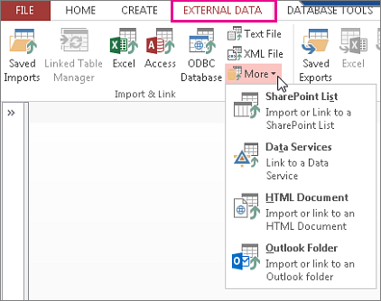 Opciones de la pestaña Datos externos en Access