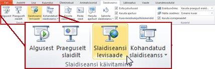 Leviedastusega slaidiseanss, rakenduse PowerPoint 2010 menüü Slaidiseanss jaotises Slaidiseansi käivitamine.