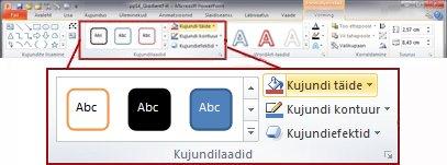 Menüü Vorming rakenduse PowerPoint 2010 lindil.