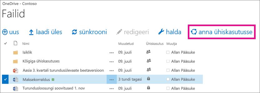 OneDrive for Businessi teegi faili ühiskasutusse andmine