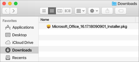 The Downloads icon on the Dock shows the Office 365 installer package