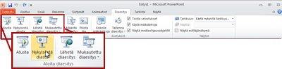 PowerPoint 2010:n Diaesitys-välilehden Aloita diaesitys -ryhmä.