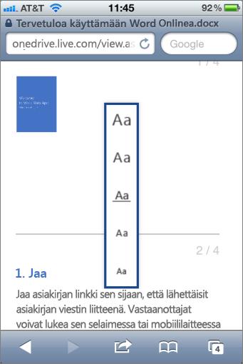 Fonttikoon valitseminen Word Mobile -katseluohjelmassa
