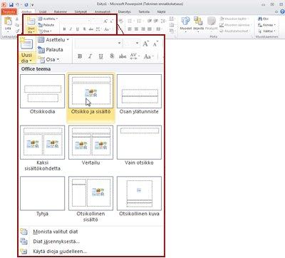 PowerPoint 2010:n Aloitus-välilehden Diat-ryhmä.