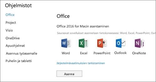 Office 365 -asetusten ohjelmiston asennusnäyttö Mac-koneessa