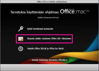 Kotikäyttöön asennetun Office for Macin asennussivu, jossa kirjaudutaan sisään olemassa olevaan Office 365 -tilaukseen