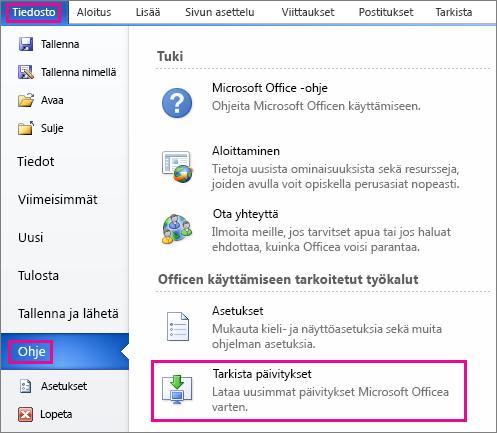 Office-päivitysten tarkistaminen manuaalisesti Word 2010:ssa