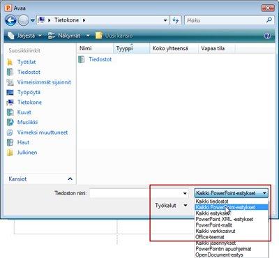 PowerPoint 2010 -tiedoston avaaminen.