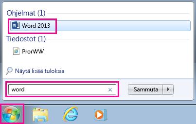 Office-sovellusten etsiminen Windows 7:ssä