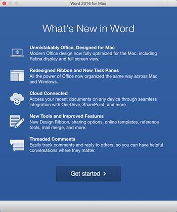 Uusia ominaisuuksia esittelevä näyttö, joka avautuu juuri asennetun Office-sovelluksen ensimmäisen käynnistyksen yhteydessä