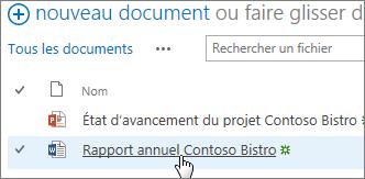 Cliquez sur un document pour l'ouvrir