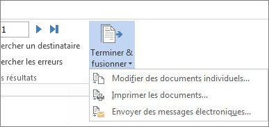 Options Terminer et fusionner